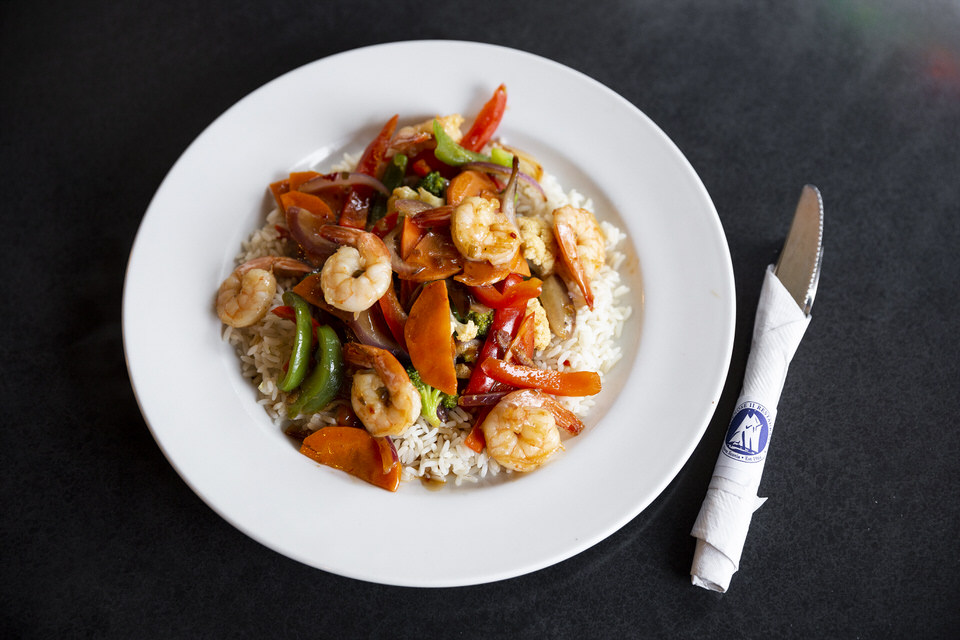 Stir fry with shrimps
